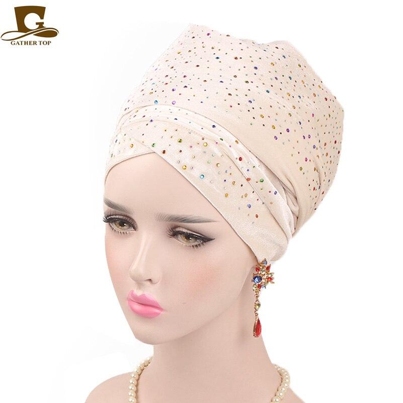 Fashion Women Luxury Diamante Extra Long Velvet Turban Head Wraps Hijab Head Scarf Turbante Muslim Cap Bandanas hair accessories