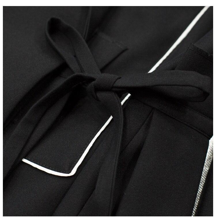 Alta qualidade 2019 início da primavera nova moda das mulheres de correspondência de cores listrado plissado hem side tie slim de manga longa pequena blazer - 5