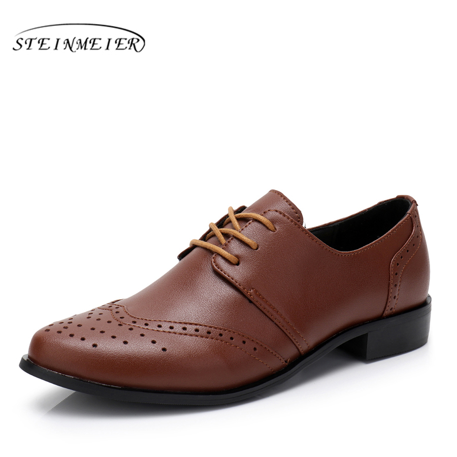 Genuine cow leather brogues designer vintage flats shoes handmade green black brown oxford shoes for women spring with fur aardimi 100% cow leather oxford shoes for woman spring