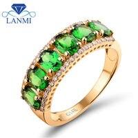 Solid 14K Yellow Gold Natural Green Tsavorite Gemstone Anniversary Ring Real Diamond Fine Jewelry for Women Gift