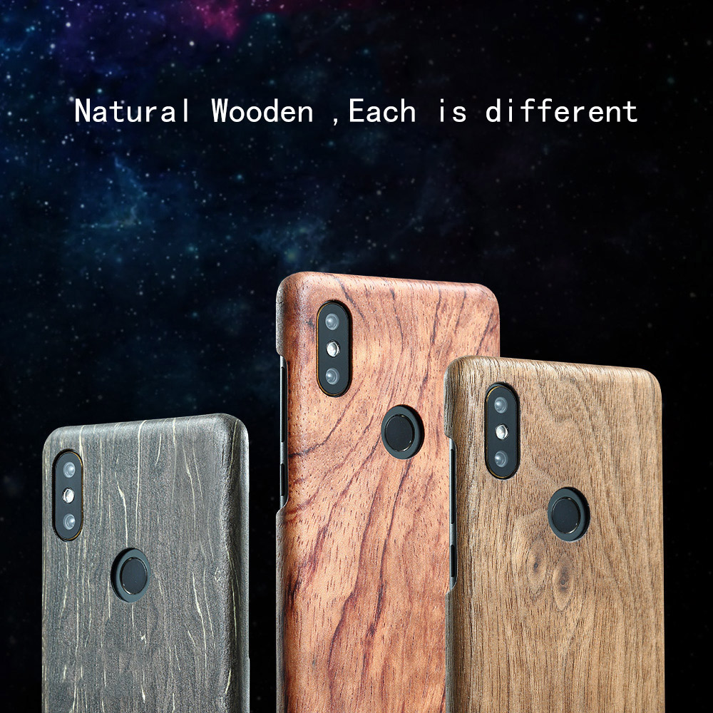 Natural Wooden phone case FOR Xiaomi mi mix 2S mix2S case cover bamboo Walnut Rosewood Black