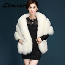 Genuo New elegant Manufacturers wholesale autumn and winter new imitation fox fur grass shawl vest jacket cloak female pocket