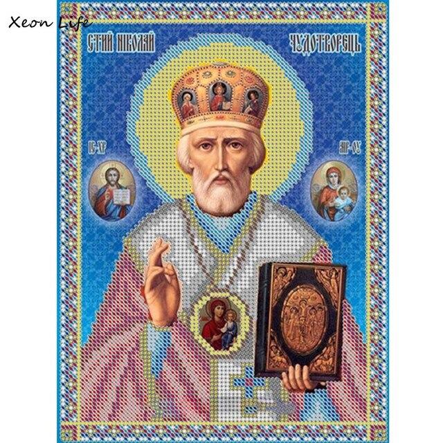 1PC 20cm*25cm 5D Diy Cross Stitch Diamond Religion Leader Icon Diamond Mosaic True Rhinestone Men Diamond Embroidery Rhinestones