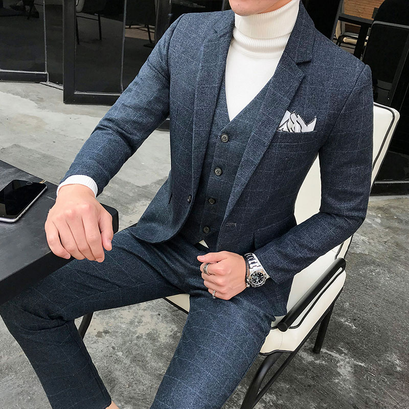 new fashion Plaid mens suits business casual groom wedding dress suits high quality male three-pieces set terno plus suze 5XL