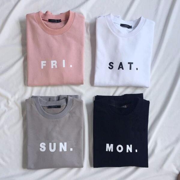 Spring Women Men FRI.pink SAT.white SUN.gray MON.black Sweatshirt Jumper Outfits Fashion Clothing