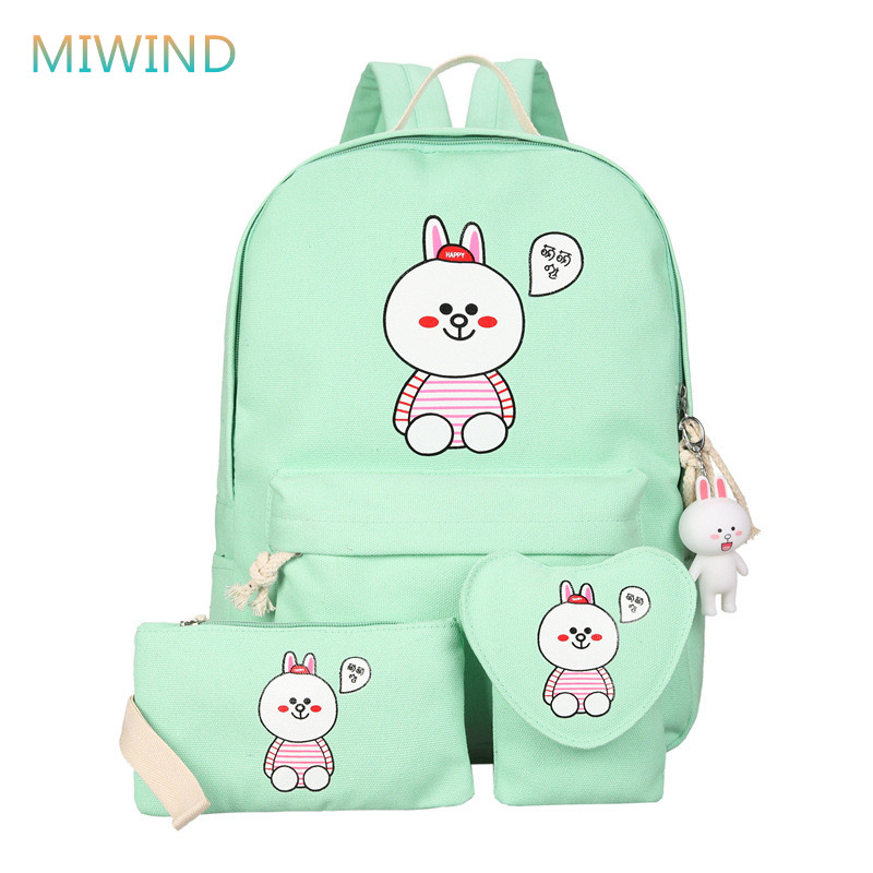 MIWIND 2017 New Women Canvas Backpack Cute Rabbit Printing Backpack School Bags For Teenagers Girls Mochila Feminina CB318 tropical doodle 3d printing mini backpack women mochila masculina who cares new canvas backpacks for teenagers girls school bags