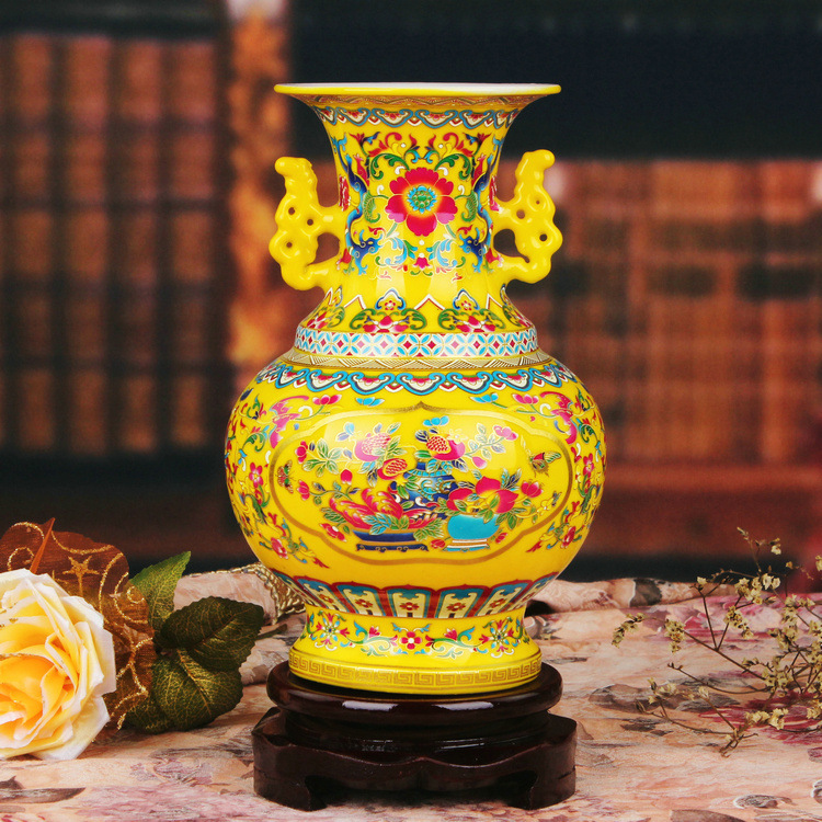 Jingdezhen ceramic vase enamel vase vase Home Furnishing ears pomegranate decorative decoration wholesale