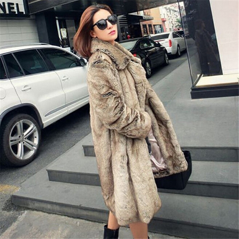 European style dress fur coat 2018 autumn winter new high imitation   leather   coat mink coat female whole mink long large code