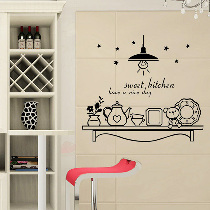 Movable Sweet Kitchen Coffee Stickers Vinyl Wall Decals Art Mural Decoration  Kitchen Cafe Wallpaper F 121 In Wall Stickers From Home U0026 Garden On ...