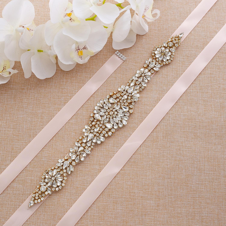 Pearl Hand Beaded Crystal Bridal Belt Gold Rhinestone Wedding Bridal Belt For Dress Accessories A123G