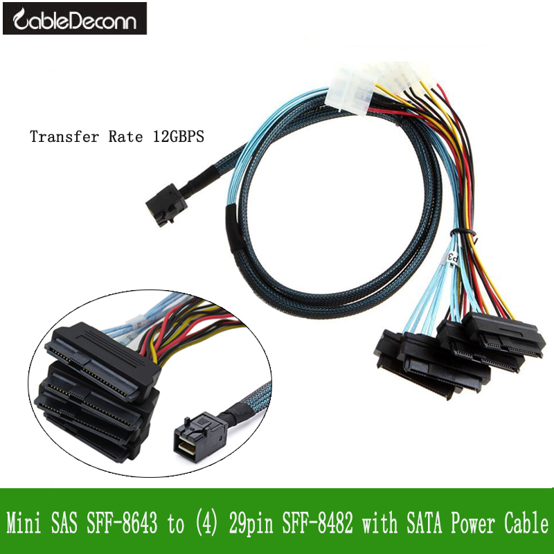sas sas cable  Internal Mini SAS SFF-8643 to (4) 29pin SFF-8482 connectors with SATA Power cable 1M storage cable