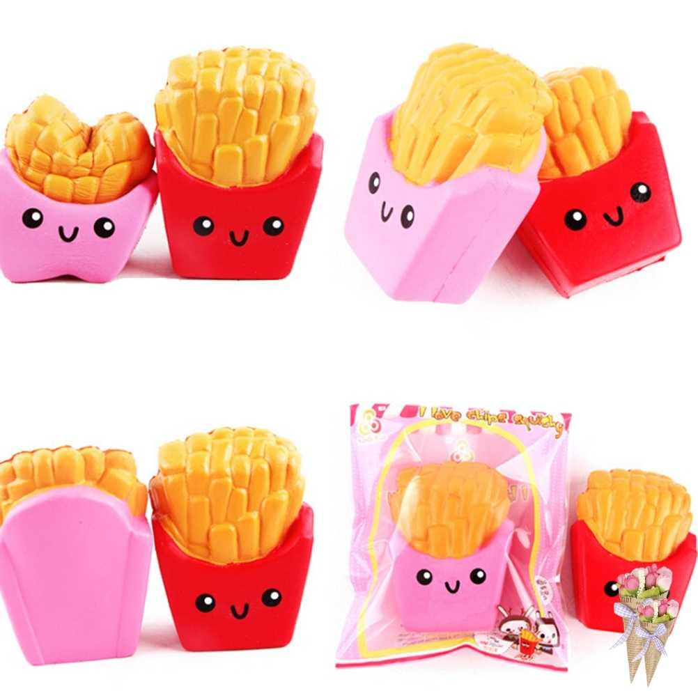 Chip Licin Jumbo Elastisitas Peregangan Anak Menyenangkan Hadiah Mainan Kentang Goreng Naik Lembut Scented Roti Kue 1 Pcs Roti Licin pesona