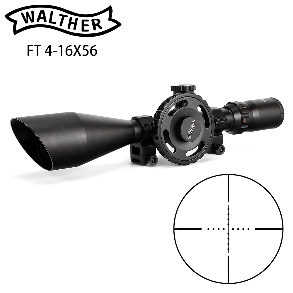 WALTHER FT 4-16X56 Hunting Riflescope Mil Dot Glass Etched Reticle Side Wheel Parallax Adjustment Turrets Reset Rifle Scope walther silver tac