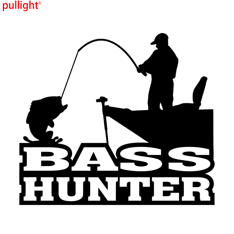 Fashion Personality BASS HUNTER FISHING Vinyl Die Cut Decal Sticker  Fish Boat Angler Hu ...