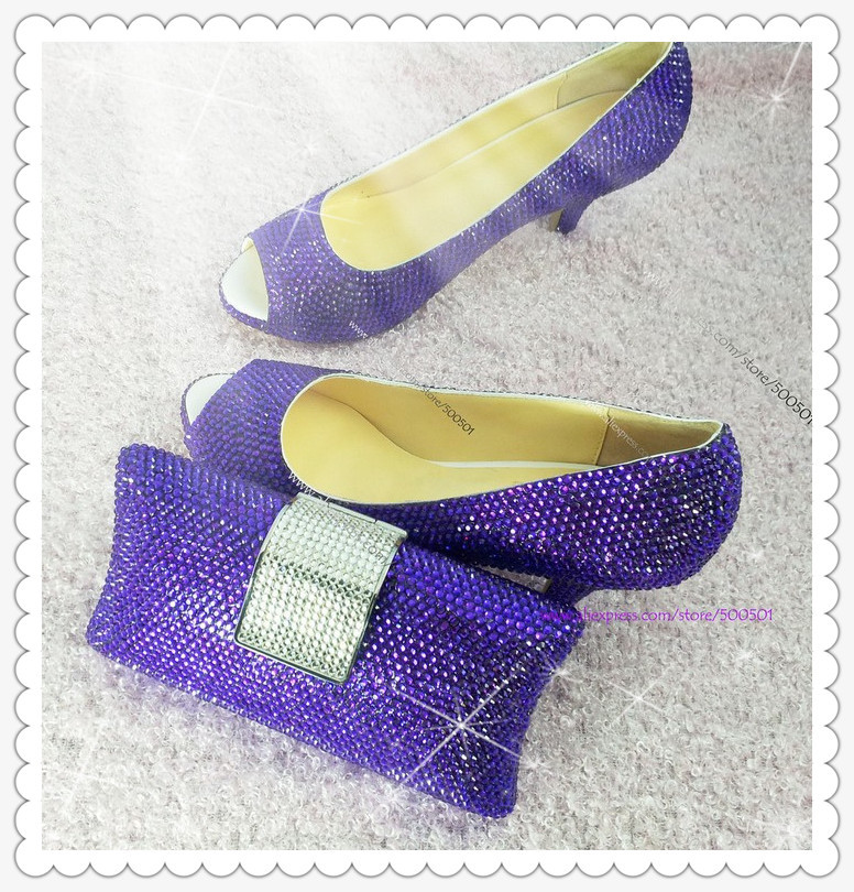 59a7fa8a9852 low heel crystal peep toe dark purple wedding shoes with matching clutch bag