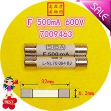 SIBA F נתיך 500mA 600MA 800MA 2A 3A 10A 600V L Nr.7009463 70 094 63 6.3x32 נתיך צינור