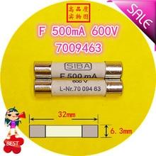 SIBA F fuse 500mA 600MA 800MA 2A 3A 10A  600V L Nr.7009463 70 094 63 6.3x32 fuse tube