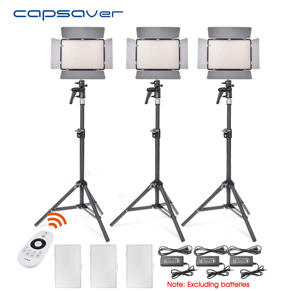 Capsaver TL-600AS 3 pcs LED Vidéo Lumière Bi-couleur Dimmable 3200 k-5600 k Photographie Éclairage Photo Caméra led Studio Light Panel