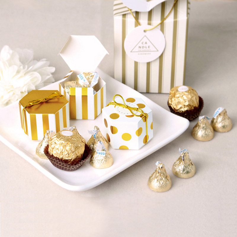 Gift Box Striped Dots Boite Dragees Bonbonniere Packaging Wedding Favor Boxes For Candy Cake Party Present Chocolate Sweet Bags