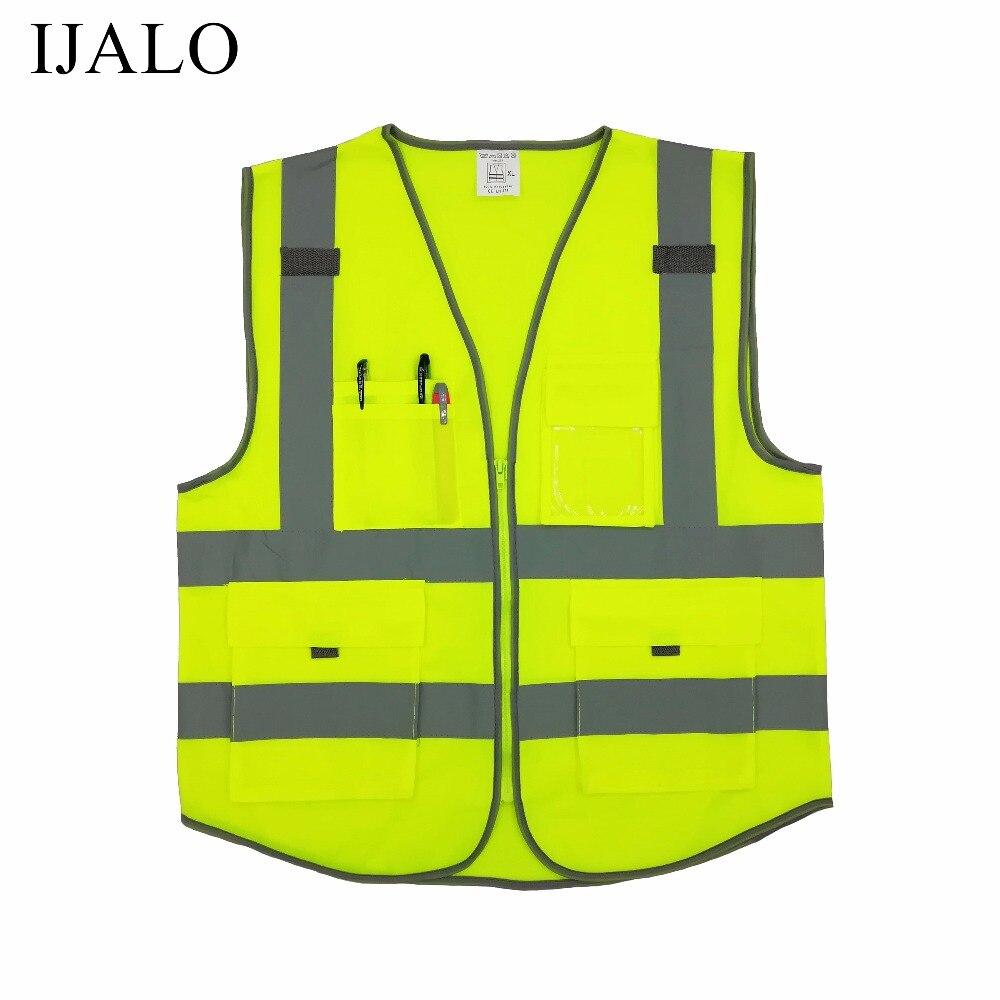 Chaqueta de la motocicleta de alta visibilidad advertencia chaleco fluorescente reflectante ropa de seguridad chaleco bolsillo con cremallera