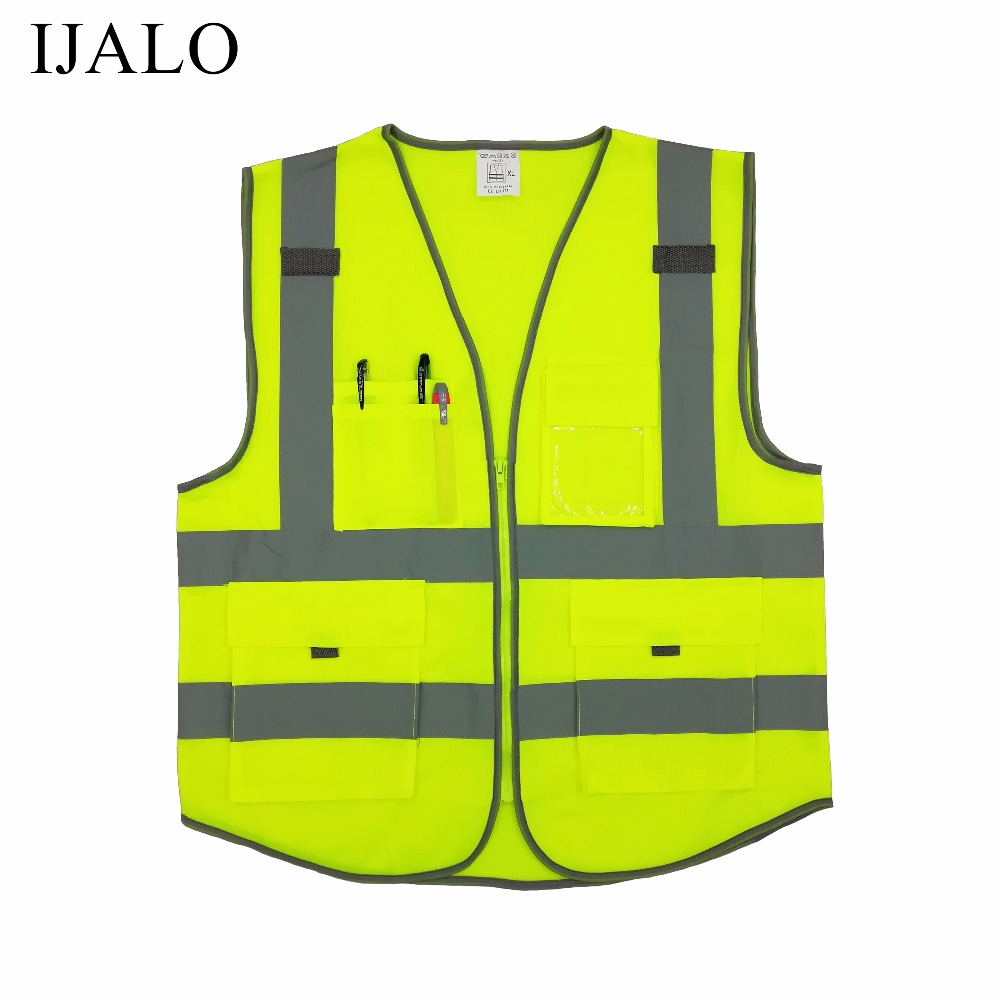 High visibility warning waistcoat fluorescent workwear reflective safety vest motorcycle jacket with zipper pocket