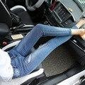 Pantalones Vaqueros de Cintura alta Real de Cordón de Algodón En El Otoño De 2016 nuevos Pantalones Vaqueros de Las Mujeres Pantalones Lápiz Pies Delgados Pantalones Holgados Cowboy Nueve Mujeres