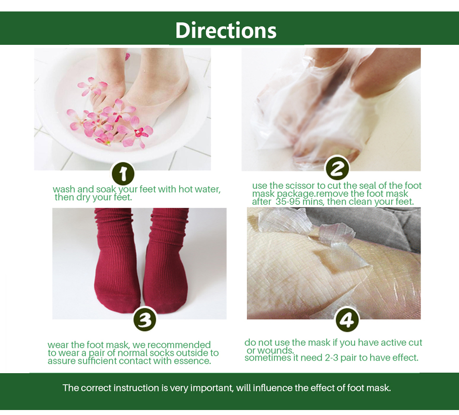 efero 2Pcs=1Pair Aloe Peeling Foot Mask for Legs Feet Mask Exfoliating Socks for Pedicure Anti Crack Heel Remove Skin Foot Patch 5