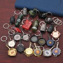 Game PUBG Keychain Cosplay Prop Metal Accessories Pan Backpack Key chain Helmet 98 AK47 M6 AWM  popular ring Fashion