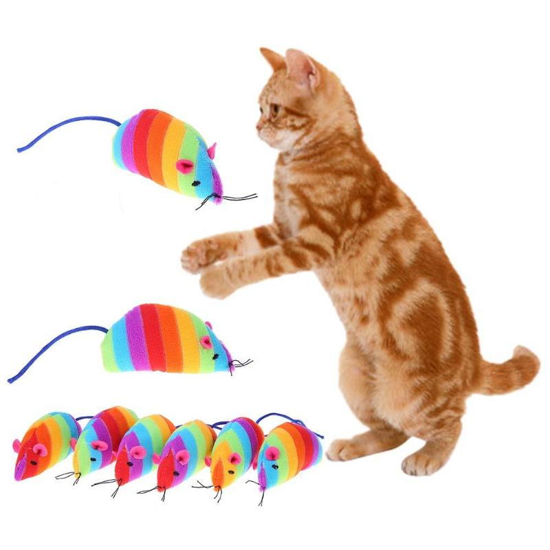 6Pcs Funny Cat Toys Rainbow False Mouse Bottom Sucker Toys for Cat Kitten Playing Pet Seat Scratch Toy Pet Cat Products