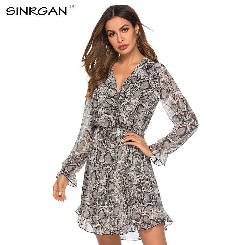 SINRGAN à volants Polkadot imprimer robe d'été Vintage irrégulière Bow Wrap robe courte femmes en mousseline de soie robe noire robes de plage 2019