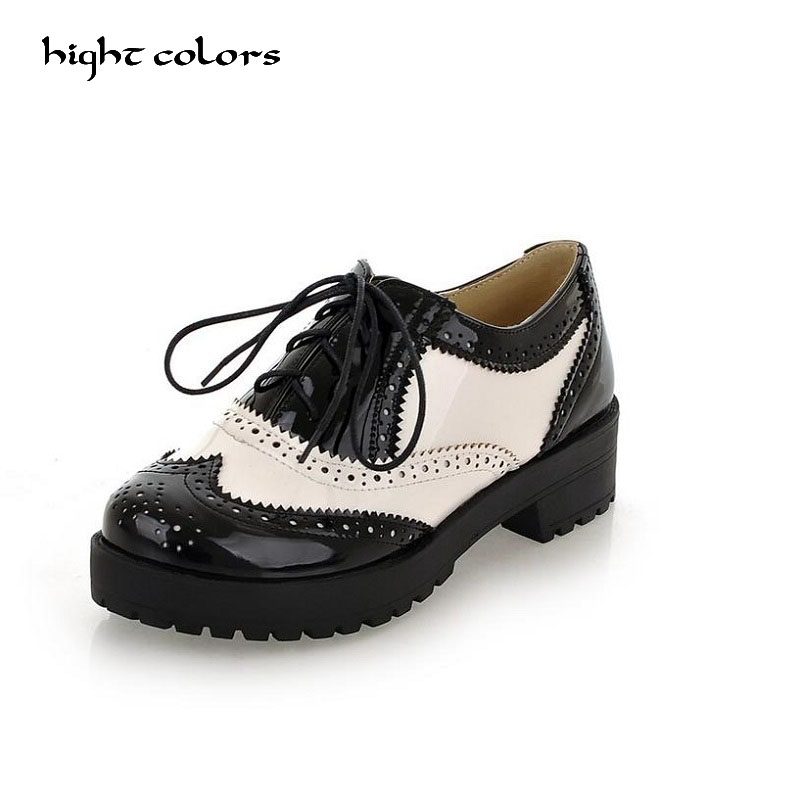 Size 34-43 New 2017 Vintage Black/White Round Toe Leather Oxfords Shoe Womens Ladies Lace Up Flat Platform Brogue Creepers Shoes calvin klein new black white colorblock womens size large l crewneck sweater $79