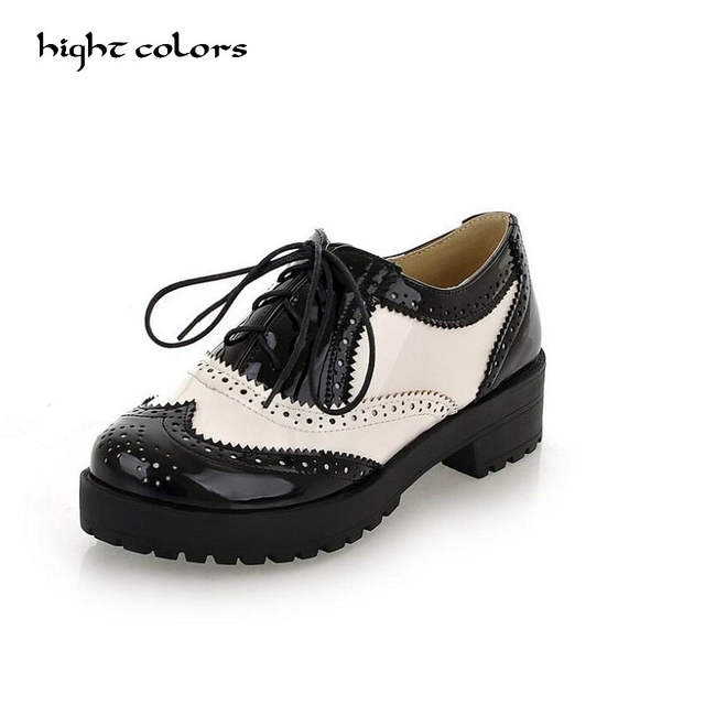 7b377ed7975 Online Shop Size 34-43 New 2018 Vintage Black White Round Toe Leather  Oxfords Shoe Womens Ladies Lace Up Flat Platform Brogue Creepers Shoes