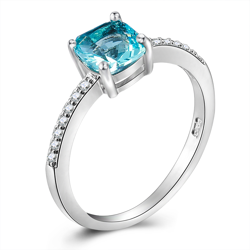 Amorui женские роскошные синий/зеленый квадратный кристалл AAA фианит тонкий шик серебряные кольца для женщин обручение камень кольцо ЮВЕ