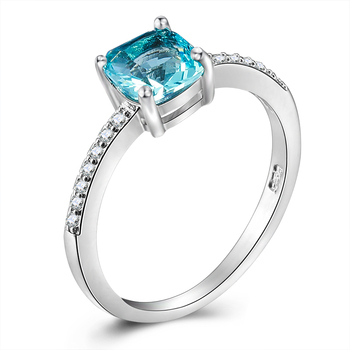 Blue/Green Square Crystal Cubic Zirconia Silver Rings