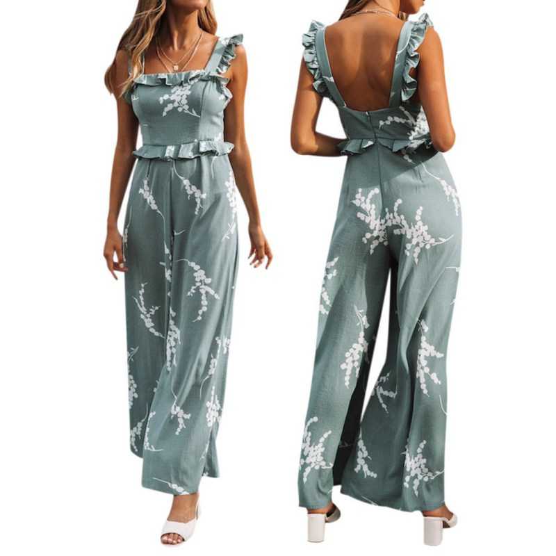 Women Spring Summer Straps Ruffled Print Casual Sling Romper Summer Backless Loose Jumpsuit