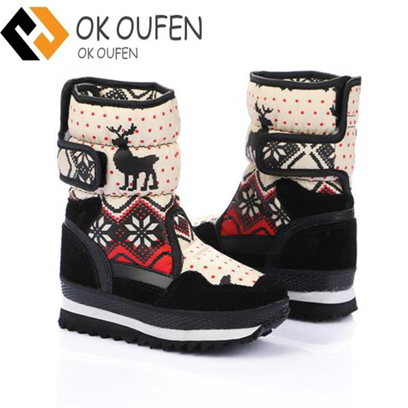 Brand 2016 HOT! EUR35-41 Fashion Non-slip Skiing Boots Waterproof Snow Boots Women Winte ...