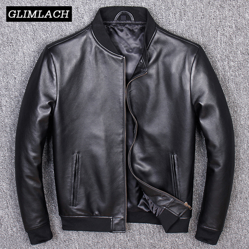 Aviation Genuine Leather Short Bomber Jacket Men Pilot Sheepskin Real Leather Jacket Slim Large Size 5XL Coats Veste Cuir Homme