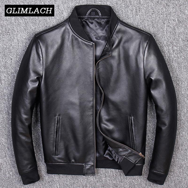 Aviation Genuine Leather Short Bomber Jacket Men Pilot Sheepskin Real Leather Jacket Slim Large Size 5XL Coats Veste Cuir Homme
