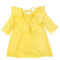 new Korean pure cotton pure color children dress back