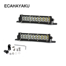 ECAHAYAKU 4pcs 60w slim Led Work Light Bar 7 inch Off-road for Tractor Truck jeep Boat 4WD 4x4 ATV fog driving lamp 12V