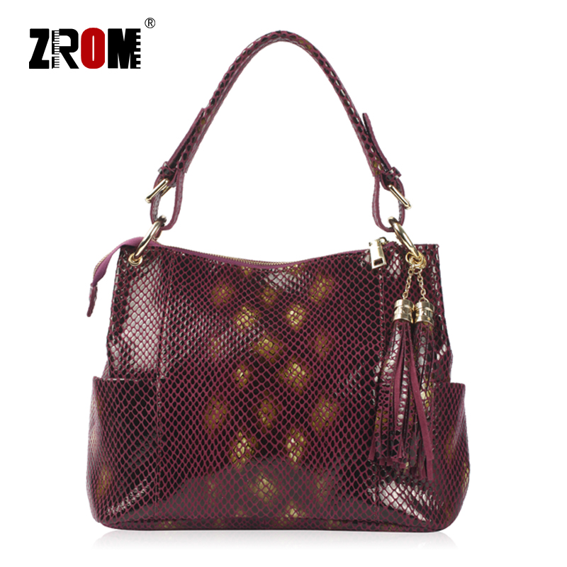 ZROM Brand Genuine Leather Women Shoulder Bag Female Casual Tote Bag with serpentine prints Leather Handbag ladies Messenger Bag paste brand design women casual tote bag genuine leather female vintage handbag 2 shoulder straps ladies shoulder messenger bag