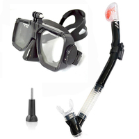 SCUBA DIVING MASK SNORKEL SET Black silicon scuba mask with dry snorkel One window tempered scuba mask for Gopro