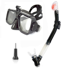 SCUBA DIVING MASK SNORKEL SET Black silicon scuba mask with dry snorkel One window tempered for Gopro