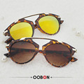 OOBON 2017 Ladies Fashion Retro Vintage Cat Eye Sunglasses High quality women brand designer sun glasses round mirrored shades