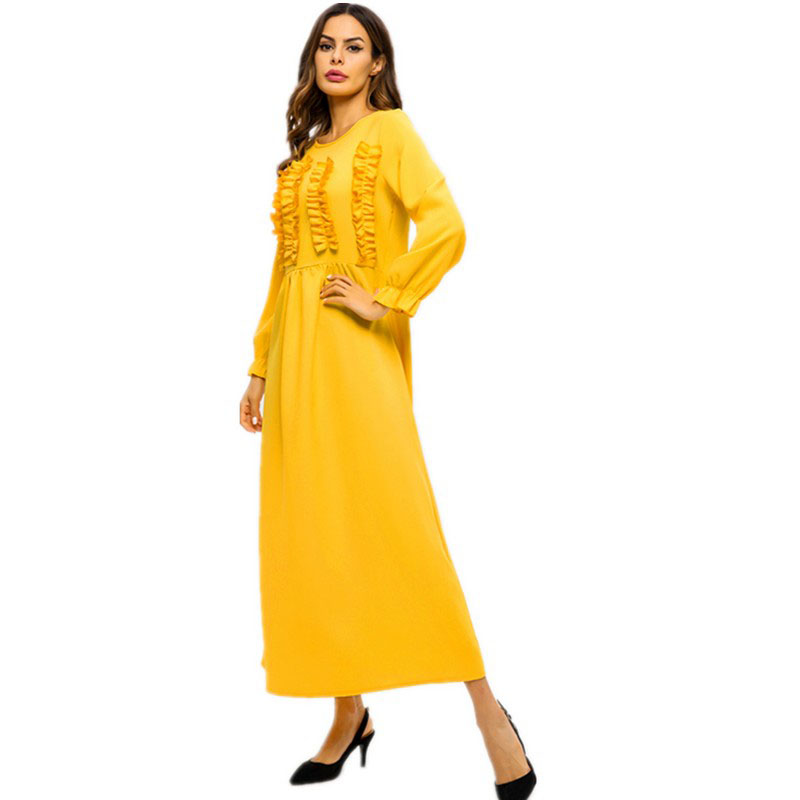 Yellow Chiffon Patch Designs Zipper Muslim Long Dress for Women Summer Fashion Abaya Dubai Turkish Islamic Ladies Gown