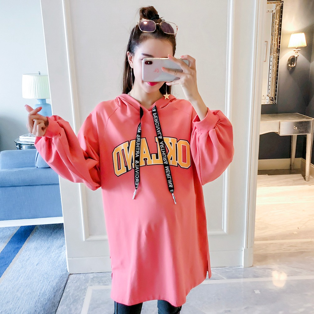 все цены на Pregnant women sweater autumn 2018 new letter long-sleeved shirt Korean version of the hoodie loose wild out maternity dress