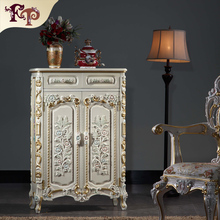 luxury classic home furniture  baroque solid wood hand carving shoe cabinet