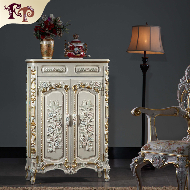 Gentil Luxury Classic Home Furniture Baroque Solid Wood Hand Carving Shoe Cabinet