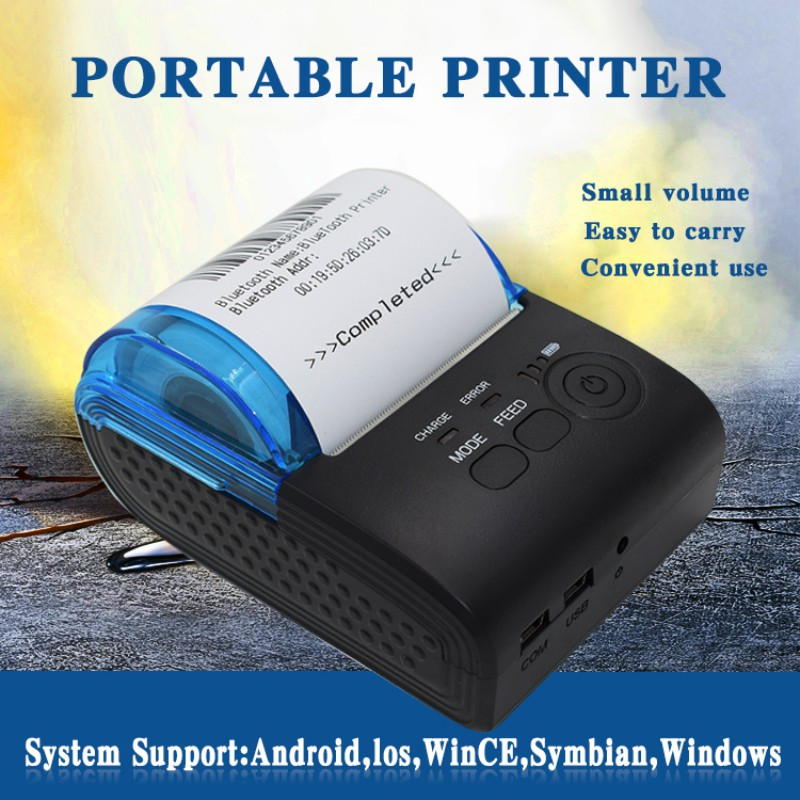 Portable Mini Thermal Receipt Printer 58mm Wireless Bluetooth Printer for iOS Android USB Thermal Printer AU/US Plug wireless android bluetooth thermal printer 58mm mini bluetooth thermal receipt printer bluetooth android