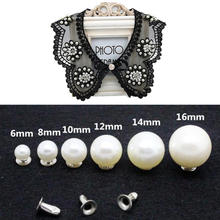 Fashion Pearl Rivets Button Cloth Pants Bag Shoes Decoration DIY Clothing Accessories 6-16mm Iron Simulated-pearl New Hot Rivet